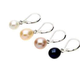Pearl Earrings - 6 mm AAA Oval Pearl Drops on Sterling Silver Leverbacks. Available in White, Pink, Lavender & Black